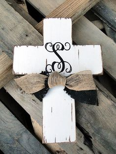 Monogram Wooden Distressed Cross with Burlap ETSY