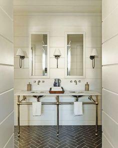 Shiplap in a traditional bathroom