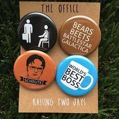 The Office TV Show Buttons Dwight Schrute Michael Scott