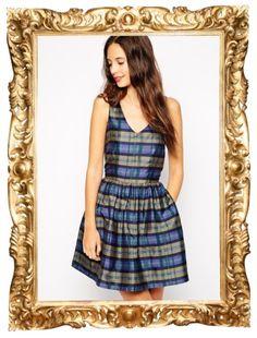 Plaid V Neck Dress - $150