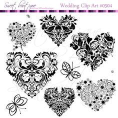 Digital Clipart Heart Frames Clip Art Scrapbook by MSweetboutique