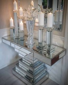 69 elegant dining table and chairs 48 Glam Living Room, Elegant Living Room, Elegant Dining, Living Room Decor, Bedroom Decor, Interior Decorating, Interior Design, Hallway Decorating, Mirrored Furniture