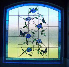 Custom stained glass window for a bathroom. Made by Designer Art Glass Daytona Beach Fl.