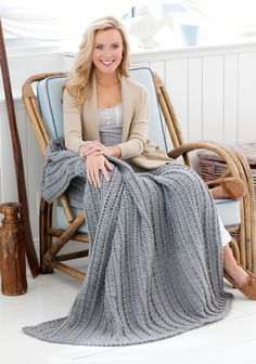 Cabled & shell Throw; Crocheted in one color, it is perfect if you prefer not to have seaming to do to finish your throw.