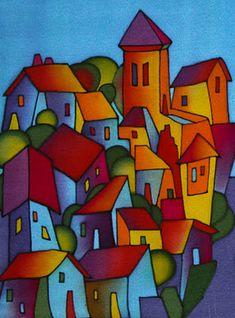 45 x cms. Fabric Painting, Painting & Drawing, Naive Art, Whimsical Art, Painting Inspiration, Watercolor Art, Folk Art, Modern Art, Art Drawings