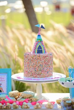Adorable CAKE at a Glamping Themed Birthday Party via Kara's Party Ideas KarasPartyIdeas.com Printables, tutorials, cake, banners, desserts, games, favors and more! #glamping #glampingparty #girlycampingparty #glampingcake #campingparty #cake