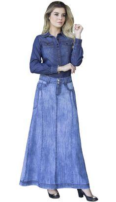 b31834a3490 DJ138 - Saia Jeans Longa Moda Evangélica