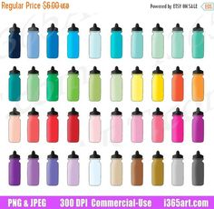 50% OFF Sale Sports Bottle Clipart, Water Bottle Clip Art, Hydrate, Hydration Planner Sticker Graphics, Fitness, Water Intake, Commercial by I365Art
