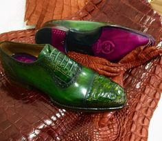 137575815932 Murat Erbaş Green Handmade Genuine Crocodile   Calfskin Captoe Oxford. Murat  Erbas Handcrafted Shoes