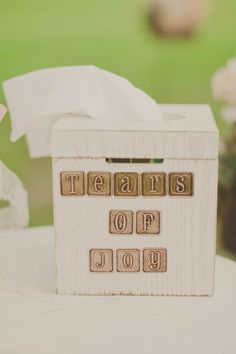 decorate a tissue box for all those tears at the wedding ceremony