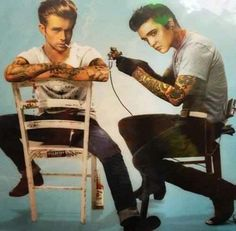 Elvis Presley giving James Dean a tattoo. Cool lol!:)