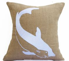 Burlap Pillows Shark Embroidered Beige White Pillow Nautical Sea Life Pillow
