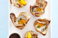 Bacon & Egg in Bread Cases recipe, NZ Woman's Weekly – A fun and creative way to present bacon and eggs, this dish also works well as party finger food.   – foodhub.co.nz