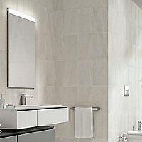 Fiji White Matt Stone Effect Ceramic Wall Tile Pack Of 10 White Wall Tiles, White Bathroom Tiles, Marble Wall, Ceramic Wall Tiles, Bathroom Floor Tiles, Wall And Floor Tiles, Pictures For Bathroom Walls, Bathroom Ideas, Matt Stone