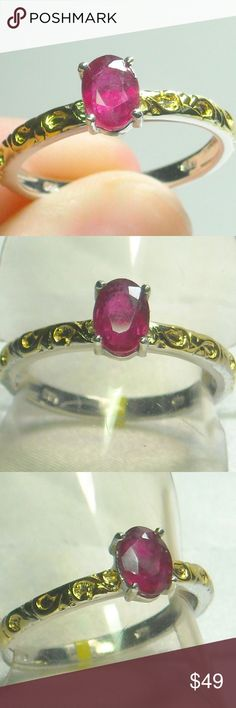 NWT Natural Ruby Ring Natural Ruby Ring, Platinum Plated .925 Sterling Silver Size 9 Jewelry Rings