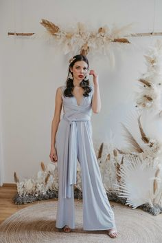 One size jumpsuit - the perfect cut for size 34 to 40 and made for every body shape. Thanks to the stretchy material and elastic band around the waist, you can wear it from size 34 to 40 Perfect fit with endless ways to wrap and wear. Bridesmaid Outfit, Bridesmaids, Drapery Wedding, Ibiza Wedding, Convertible Dress, Blue Jumpsuits, Jumpsuit Dress, Slow Fashion, Wedding Season