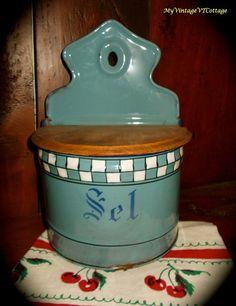 Vintage French Enamelware Blue Salt Sel Box  by MyVintageVTCottage, (sold to a happy vintage home)