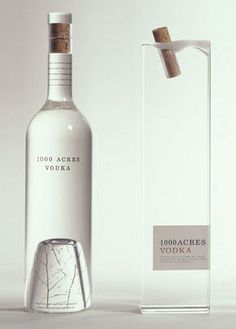 Vodka Packaging by Arnell 1000 Acres Vodka. I love the subtle tree at the bottom of the Acres Vodka. I love the subtle tree at the bottom of the bottle Cool Packaging, Bottle Packaging, Brand Packaging, Packaging Design, Bottle Labels, Beer Labels, Coffee Packaging, Product Packaging, Alcohol Bottles