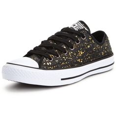 Converse Chuck Taylor All Star Ox Sequin Shoes ($77) ❤ liked on Polyvore featuring shoes, sneakers, lace sneakers, converse sneakers, black shoes, black trainers and sequin shoes