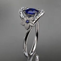 14kt white gold diamond unique floral engagement ring,wedding ring ...... | AnjaysDesigns - Jewelry on ArtFire