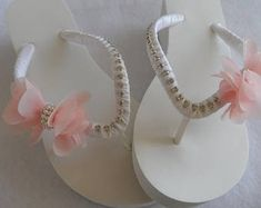 Your place to buy and sell all things handmade Bridal Flip Flops, Beach Flip Flops, Beach Wedding Shoes, Summer Wedding, Flip Flop Slippers, Hand Wrap, Bridal Shower Gifts, Pearl White, Bridesmaid Gifts