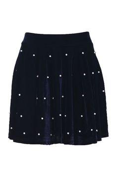 Pearl Navy Blue Skirt  $37.90 #Romwe