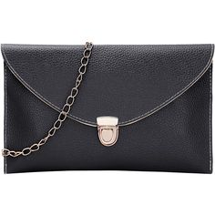 Black Envelope Clutch With Chain ($7.99) ❤ liked on Polyvore featuring bags, handbags, clutches, black, messenger purse, envelope clutch, messenger handbags, chain handbags and envelope clutch bags