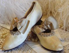 Circa 1850s  1 Pair Of Exquisite Young Ladies Kidskin Slipper Shoes Adorned With Silk Bows