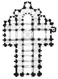 Le plan de l'abbatiale Sainte Foy de Conques