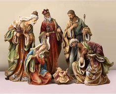 Our indoor nativity set comes with beautiful color as the three kings with resplendence present gifts on the birth of Jesus. Christmas Nativity, Christmas Art, Christmas Decorations, Ceramic Nativity Set, Christmas Interiors, Jesus Art, Animal Statues, Garden Statues, Ideas