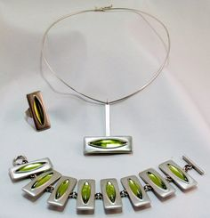 Pewter jewellery set by Jorgen Jensen.