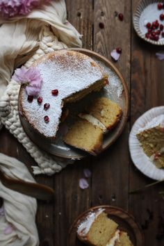 Victoria sponge with lemon pomegranate and hibiscus curd