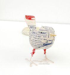Fabric Bird Sculpture Artwork Mixed Media Bird Folk Art