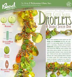 Czech Glass Beads Droplets & Spacer Bar: 7 Inch Strands  BeadMaster Bead Master USA