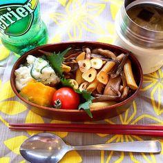 白菜と生姜のスープつき♡ - 17件のもぐもぐ - きのこのバルサミコ醤油パスタ弁当 by raccastyle