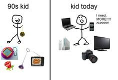 compares children that were born in the '90s to today's children