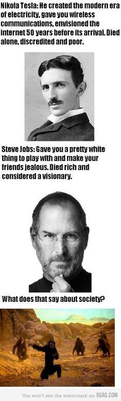 Society: Steve Jobs vs Nikola Tesla