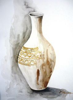 Mothers day gift, Easter gift, Οινοχόη, Watercolor Wall Art, Brown, Original art, Handmade, Home Decor, Greek ancient vase,  FREE SHIPPING