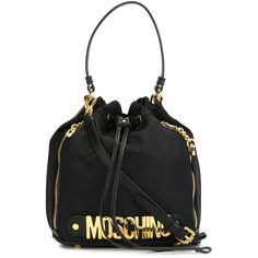 Moschino logo bucket tote ($550) ❤ liked on Polyvore featuring bags, handbags, tote bags, black, leather tote purse, man bag, drawstring tote, hand bags and leather purses