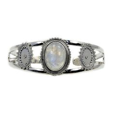 Moonstone & .925 Sterling Silver Cuff Bracelet  by TheSilverPlaza