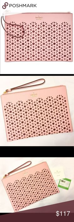 """New Kate Spade Perforated Wristlet in Pink Sunset! I usually like to use props when taking photos of my listings.  That was not even an option with this wristlet.  I mean, look at it... it's Gorgeous!! The Perforated pattern is stunning and paired with the pretty pink sunset color.... Its a match made in wristlet heaven The item details are as follows: Perforated Crosshatched leather, 6""""L wrist strap, zip closure, One interior slip pocket.  Last photo taken with no sunlight. kate spade Bags…"""