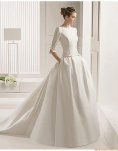 2015 A-linie Schlichte Exklusive Brautkleider aus Satin mit Schleppe