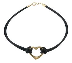 Heart Charm Leather Bracelet 14K Gold