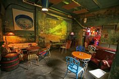 Boho shabby chic bar called Szimpla Kertmozi in Budapest, Hungary