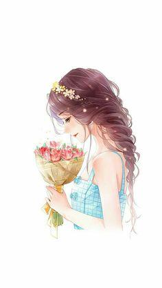 66 Ideas Flowers Art Girl For 2019 Kawaii Anime Girl, Pretty Anime Girl, Beautiful Anime Girl, Anime Art Girl, Anime Girls, Beautiful Flowers, Manga Girl, Beautiful Girl Drawing, Cartoon Kunst