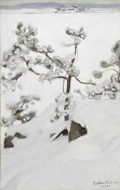 Pekka Halonen (Finnish, Pine in Snow, Oil on canvas, 71 x cm. Helene Schjerfbeck, Austin Osman Spare, Alfred Stevens, August Sander, Albert Bierstadt, Arthur Rackham, Ansel Adams, Romanticism Paintings, Finland
