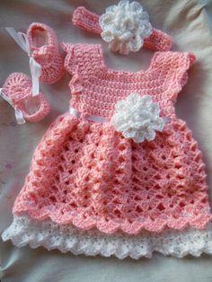 Baby Girl Dress Infant Dress Dress Headband & Shoes  MADE