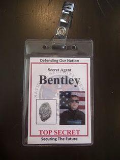 Secret Agent name badges Spy Kids Party, Spy Birthday Parties, Boy Birthday, Bunco Party, Birthday Ideas, Secret Agent Party, Detective Theme, Spy Gear, Vbs Crafts