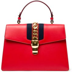 Gucci Sylvie Top Handle Tote - Red (£2,230) ❤ liked on Polyvore featuring bags, handbags, tote bags, kirna zabete, top handles, tote handbags, tote bag purse, gucci, top handle purse and chain handbags