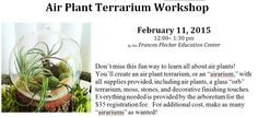Enjoy learning all about air plants. Create an airarium to enjoy at home or office.  http://www.jmu.edu/arboretum/events.shtml